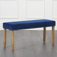 Birlea Studded Dining Bench Small In Blue Plush And Oak Legs
