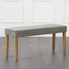 Birlea Studded Dining Bench Small In Grey Plush Velvet