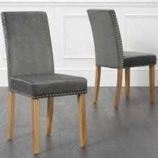 Birlea Studded Dining Chairs In Grey Plush Velvet In A Pair