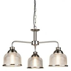 Bistro II 3 Light Pendant In Satin Silver And Halophane Glass