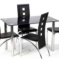 Bizet Glass Dining Table In Black With Stainless Steel Legs