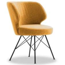 Blokty Modern Fabric Accent Chair In Mustard With Metal Legs