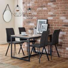 Blythe Dining Table In Sonoma Oak With Four Anya Dining Chairs