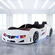 BMW Childrens Car Bed In White With LED And Leather Seats