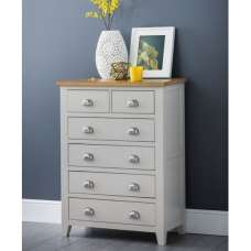 Bohemia Wooden Chest Of Drawers In Grey With 6 Drawers
