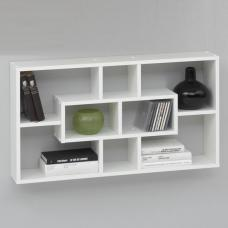 Lasse Bookcase Wall Shelves In White With 8 Compartments