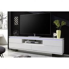 Boomer TV Stand In Matt White With 4 Drawers And LED Lighting