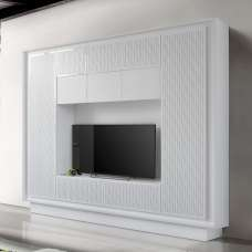 Borden Entertainment Wall Unit In White And Striped Serigraphy