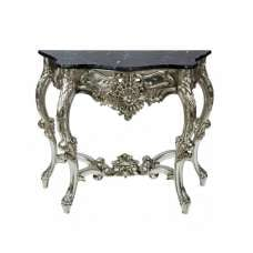 Boule Rectangular Marble Console Table With Champagne Frame