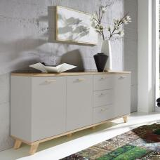 Bowen Large Sideboard In Stone Grey And Oak With 3 Doors