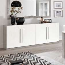 Breta Sideboard Large In White High Gloss Grey Marble Effect