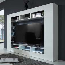 Breton Wall Entertainment Unit In White High Gloss With LED
