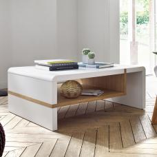 Brianna Coffee Table Rectangular In Matt White And Knotty Oak