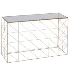 Brianne Glass Console Table With Metal Frame