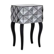 Brice Glass Side Table In Silver With Wooden Legs
