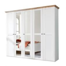 Brisa Mirror Wardrobe Large In Alpine White Planked Oak Effect
