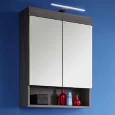 Britton Wall Mount Mirror Cabinet In Sardegna Smoke Silver LED