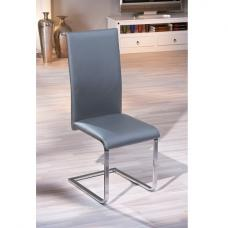 Bronte Dining Chair In Grey Faux Leather With Chrome Base