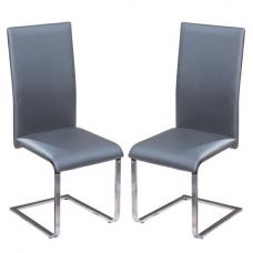 Bronte Dining Chair In Grey Faux Leather In A Pair