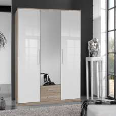 Bruce Mirror Wardrobe In Oak Effect And White High Gloss Fronts
