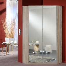 Bruce Mirrored Corner Wardrobe In Oak Effect With 2 Doors