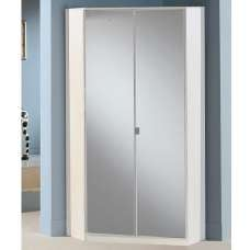 Bruce Mirrored Corner Wardrobe In White With 2 Doors
