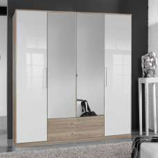 Bruce Mirror Wardrobe Large In Oak Effect White Gloss Fronts