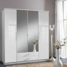 Bruce Mirror Wardrobe Large In White With Gloss Fronts 4 Doors
