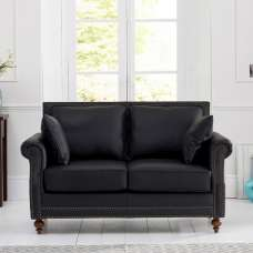 Burnet 2 Seater Sofa In Black Leather With Dark Ash Legs