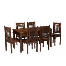 Bursa Large Dining Table In Sheesham Wood With 4 Dining Chairs