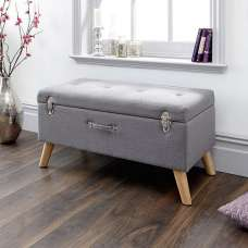 Caballero Fabric Ottoman Storage Bench In Grey