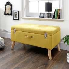 Caballero Fabric Ottoman Storage Bench In Mustard