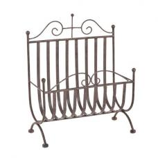 Cairo Magazine Rack In Antique Brown Metal