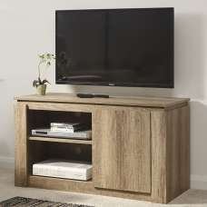 Caister Wooden Compact LCD TV Stand In Oak With 1 Door