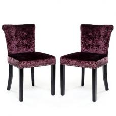Calgary Fabric Dining Chair In Crushed Velvet Grape In A Pair