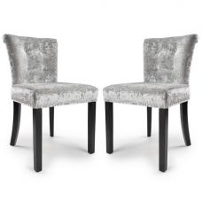 Calgary Fabric Dining Chair In Crushed Velvet Silver In A Pair