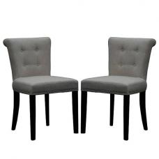 Calgary Fabric Dining Chair In Linen Effect Grey In A Pair