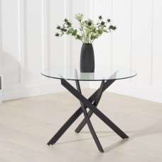 Caliban Glass Dining Table Round In Clear With Metal Legs