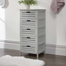 Calino Wooden Chest Of Drawers In Grey With 5 Drawers