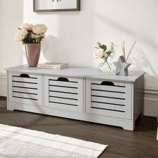 Calino Wooden Storage Bench In Grey With 3 Doors