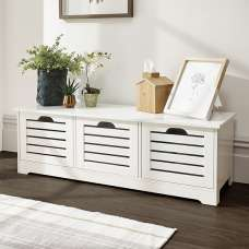 Calino Wooden Storage Bench In White With 3 Doors