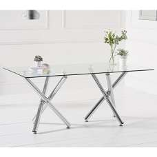 Calisto Glass Dining Table In Clear With Chrome Legs