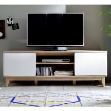 Callista Wooden TV Stand In Oak And Matt White With Storage