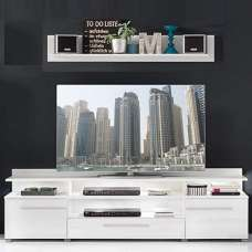 Callum Large TV Stand In White High Gloss Fronts With Shelf