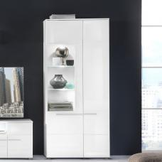 Callum Display Cabinet In White With High Gloss Fronts And LED