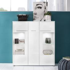 Callum Highboard In White With High Gloss Fronts And LED