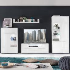 Callum Living Room Set 1 In White With Gloss Fronts And LED