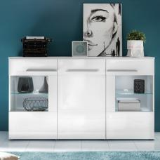 Callum Sideboard In White With High Gloss Fronts And LED