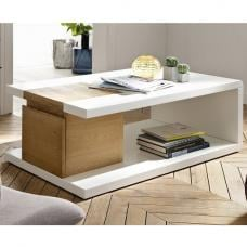 Cameron Wooden Storage Coffee Table In White And Knotty Oak