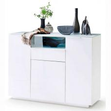 Canberra Wide Shoe Cabinet In Glass Top And White High Gloss